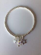 Star & Cristal plata plateado pulsera de apilamiento ~ Stretch Elastic hecho a mano