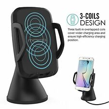 MoKo 3-Coil Qi Wireless Charger Car Mount Holder Charging Cradle for Smartphones