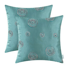 2pcs Cushion Cover Shell Random Circles Geometric Chain Embroidered Teal 45x45cm