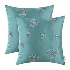 """2pcs Cushion Cover Random Circles Geometric Chain Embroidered 18""""x18"""" Teal"""