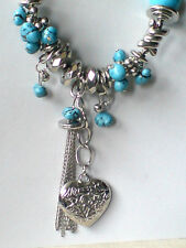 "SILVERTONE & TURQUOISE RESIN 22""STATEMENT NECKLACE WITH HEART PENDANT £10.99 NWT"