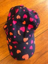 girls THE CHILDREN'S PLACE BASEBALL CAP hat NAVY BLUE pink hearts SIZE 4 5 6 7