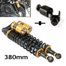 Pair 15'' 380mm Motorcycle Rear Air Shock Absorber Suspension Round+Clevis End