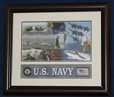 "US NAVY Composite Photo ~ Stamp ~ Challenge Coin Framed Display  14"" x 11"""