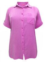 Big-Size Kurzarm Sommer Bluse Shirt mauve  Gr. 52 54 56 58 60 62 64 66 68 70