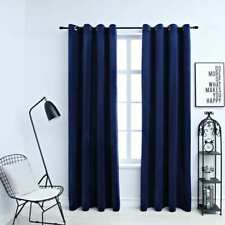 vidaXL 2x Blackout Curtains with Metal Rings Velvet Dark Blue 140x225cm Blind