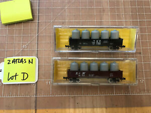 Atlas N Train TWO 42' Gondola Cars w/ Tank Loads T&P and L&N  LN - EX Lot D