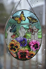 """AMIA STAINED GLASS OVAL SUNCATCHER ~ BUTTERFILES AND PANSY FLOWERS ~ 7"""" TALL"""