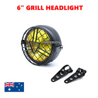 "6"" Black Motorcycle yellow grill headlight bracket cafe racer projector bobber"