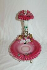 OUTSTANDING Antique Victorian Art Glass Epergne Brides Basket Combination