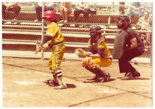 Vintage 70s PHOTO Boys Baseball Players Batter & Catcher At Game