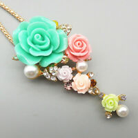 Betsey Johnson Women's Resin Crystal Rose Flower Pendant Long Necklace/Brooch