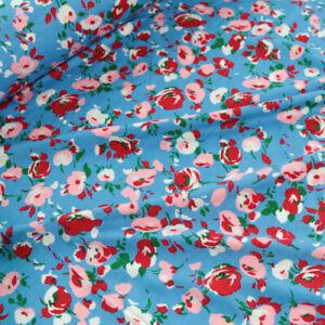 2m leichter Designer Jersey Stoff aus Viskose sommerlich Blumen bunt für Kleid