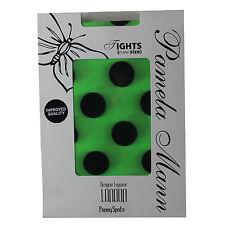 Ladies Tights Womens Pamela Mann One Size Nylon Penny Spots Flourescent Green
