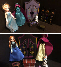 Disney Store Frozen Elsa And Anna Mini Doll Wardrobe Play Sets in Dresser Olaf