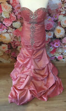Iridescent Vintage Gold Pink Satin Look Prom Dress Gown Bridesmaid Bridesmaid 12