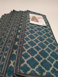 "World Rug Galley 12 Non Slip Carpet Rug Stair Treads 26""x8.6"" 70090 Blue"