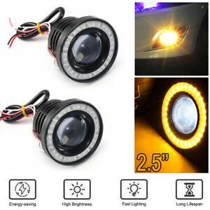 2.5 Inch Car COB LED Fog Light Projector Yellow Angel Eyes Halo Ring DRL Lamp