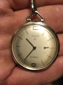 VTG RARE 1960s Elgin 10K White RGP 19j Cal 732 Pocket Watch w/Chain RUNS NICE