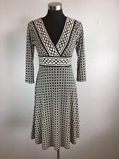 Dressbarn Womens Dress 8 M Black White Geometric 3/4 Sleeve