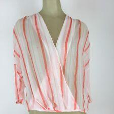 Chelsea 28 Woman shirt blouse size medium orange white striped semi sheer