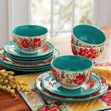 The Pioneer Woman Vintage Floral 12-Piece Dinnerware Set, Teal