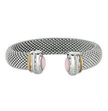 PHILLIP GAVRIEL-18K Pure Gold & Sterling 925 Rose Quartz & Diamond Cuff Bracelet