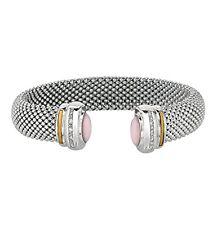 PHILLIP GAVRIEL-18K Pure Gold & Sterling 925 Rose Quartz & Diamond Cuff Bracelet