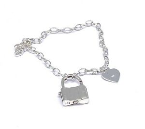 "925 STERLING SILVER Heart Padlock Charm Cable Chain Bracelet 7.5"" / 19 cm Long"
