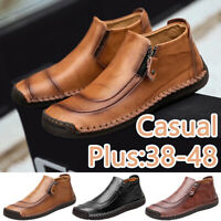 Fashion Men's Leather Zipper Ankle Boots Casual Flat Loafers Slip on Moccasins