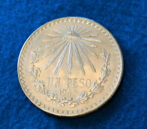 1945 Mexico Peso - Beautiful Uncirculated Silver Coin - Capsule Incl. - See PICS