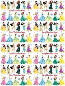 Disney Princess Personalised Christmas Gift Wrapping Paper 4 Designs ADD NAME