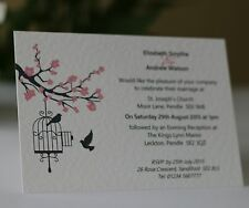 50 x Personalised Wedding Invitations Day Evening with Envelope Blossom