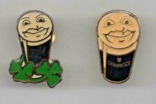 More details for guinness 2 x vintage shamrock & smiley face lapel pins (b9)