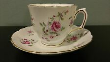 Crown Stafford Shire Fine Bone China England Floral Tea Cup and Saucer