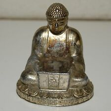 Vintage Buddha Metal Golden Incense Burner Aged Estate Piece Rare