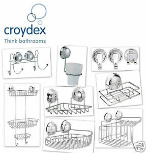 Croydex Twist N Lock Storage Caddy Chrome Suction Fix Bathroom Organizer Tidy