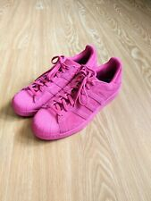 Adidas Superstar Sneakers Tennis Shoes Hot Pink Suede Leather Men's 12 No Insole