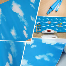 1 Roll 1M Blue Sky & White Clouds Style Self-adhesive Wallpaper Decor Free Ship