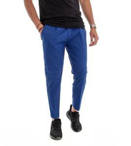 Pantalone Uomo Cotone Tinta Unita Classico Blu Royal Lungo Tasca America GIOSAL