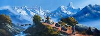 "MOUNT EVEREST, AMADABLAM  FROM TENGBOCHE ORIGINAL ACRYLIC PAINTING  14"" x 36"""