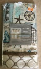 """New Bed Bath & Beyond Sea Life Two Tier Panels  60"""" X 36"""" Beach Curtains Sailor"""