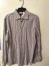 BANANA REPUBLIC Mens Blue Brown Striped Button Front Long Sleeve  Size L