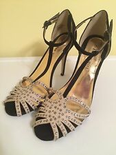 Madden Girl Women's shoes Black And Taupe Embellished Dimitrus Heels Size 8.5 M