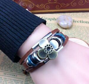 """Good Luck Four Leaf Clover Flower Adjust Bead Leather Ethnic Hand Bracelet 6-10"""""""