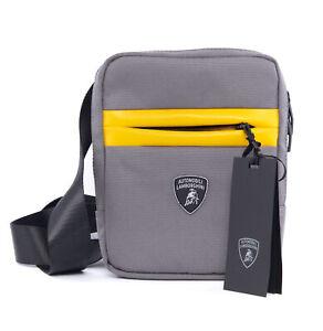 NWT AUTOMOBILI LAMBORGHINI BODY-BAG polyester contrast grey yellow luxury auth