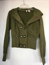 EUC Womens Olive Green Jacket Star Logo M Double Button Hoodie