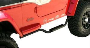 Rampage For 97-06 Wrangler TJ Slimline Drop Step Side Bars Textured Black 26625