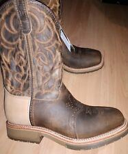 Cowboy western roper square front steel toe work boot mens 9 D