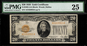 1928 $20 Gold Certificate FR-2402 - Graded PMG 25 - Very Fine